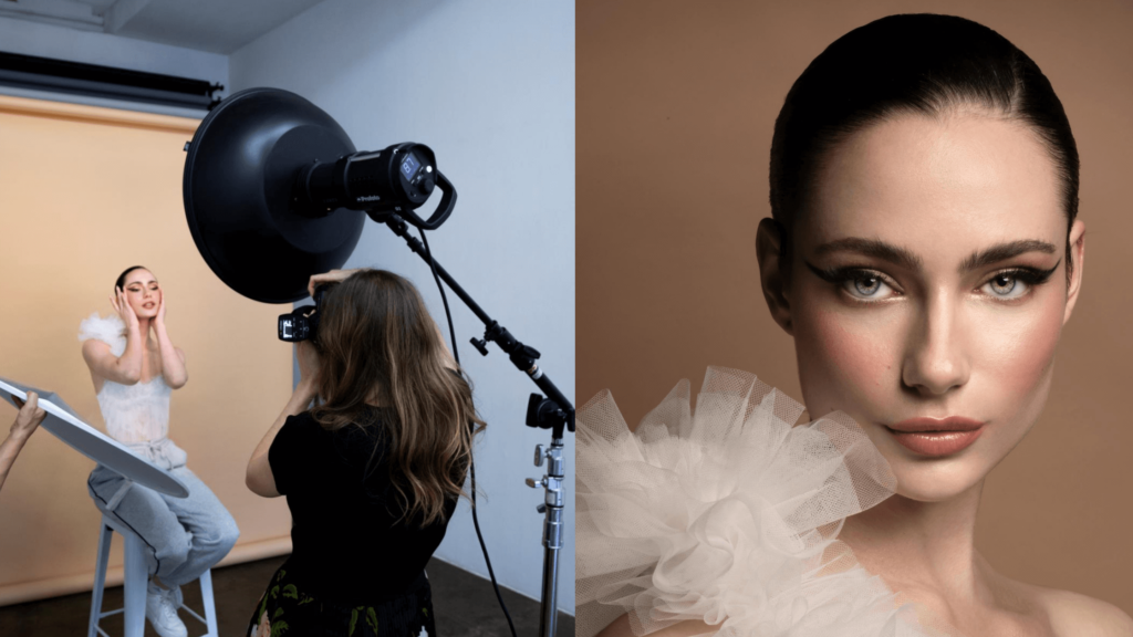 a double image of a photoshoot using a beauty dish and the outcome