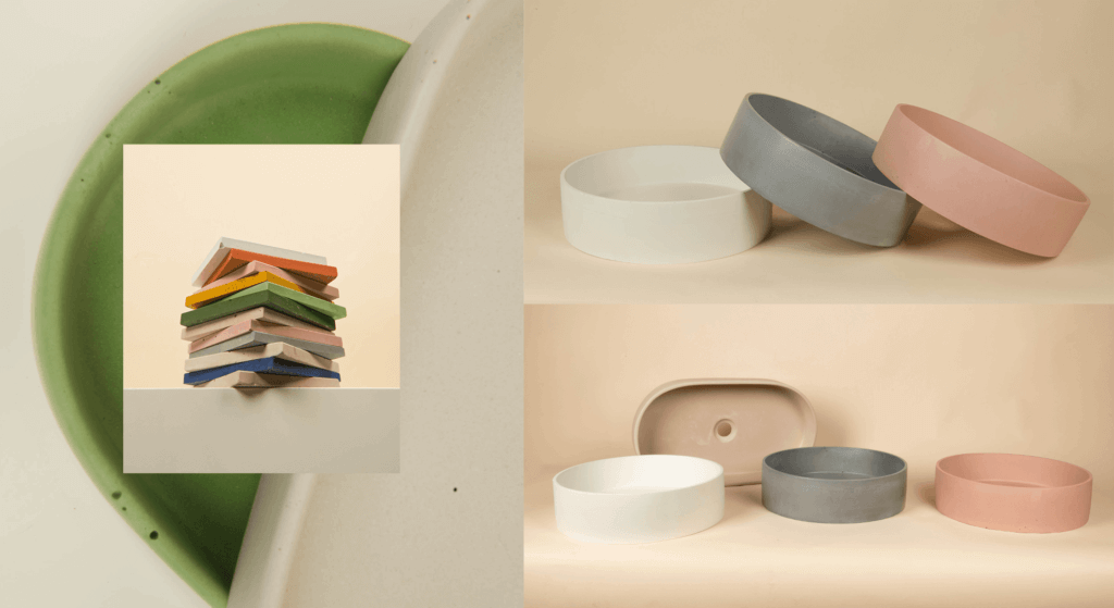 Edje Concrete stacked for using products as props for photography