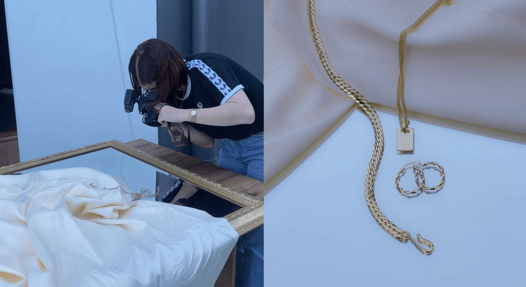 Flat lay product photography using jewellery